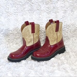 Ariat 4LR Red & Tan Fatbaby Leather Western Boot